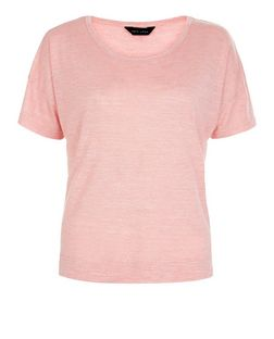 Mid Pink Textured Slub Boxy T-Shirt  | New Look