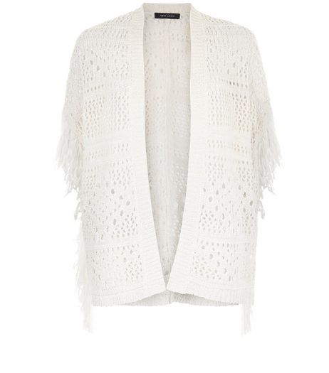Cream Crochet Tassel Trim Cardigan  | New Look