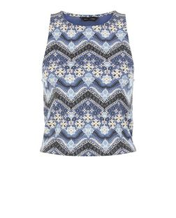 Blue Floral Abstract Print Sleeveless Top  | New Look
