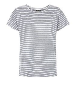 Blue Marl Stripe T-Shirt  | New Look