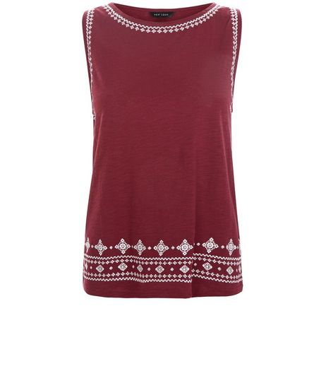 Burgundy Embroidered Trim Sleeveless Top  | New Look