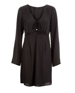 Black Tie Front Long Sleeve Skater Dress  | New Look