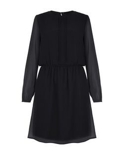 Black Pleated Front Long Sleeve Skater Dress | New Look