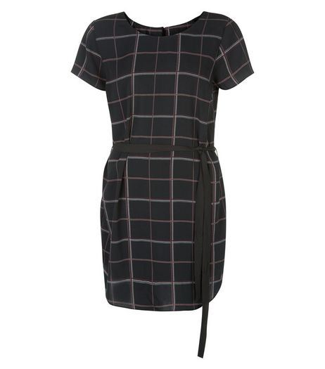 Black Check Belted Tunic Dress | New Look