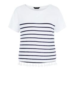 White Stripe Tassel Hem T-Shirt  | New Look