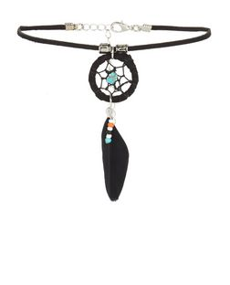 Black Dreamcatcher Beaded Choker  | New Look