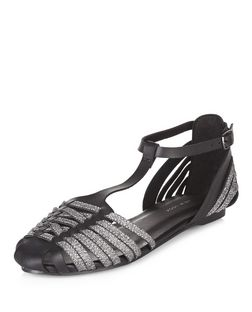 Black Contrast Woven T-Bar Sandals  | New Look