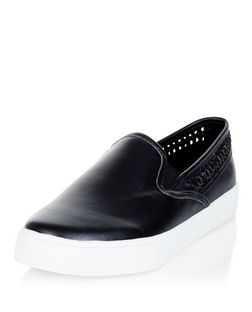 Black Woven Trim Slip On Plimsolls  | New Look