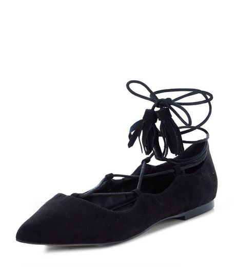 Black Laser Cut Out Trim Pointed Ghillie Pumps | New Look