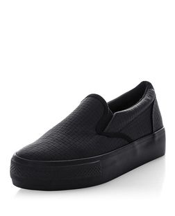 Black Woven Flatform Slip On Plimsolls  | New Look