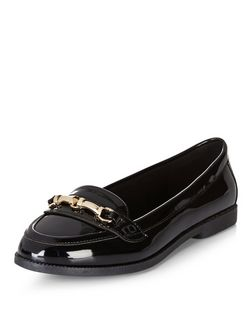 Black Patent Metal Trim Loafers  | New Look