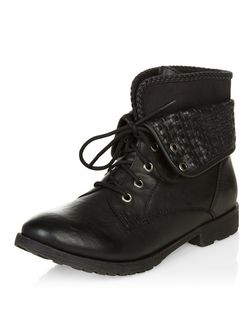 Black Woven Cuff Lace Up Ankle Boots  | New Look