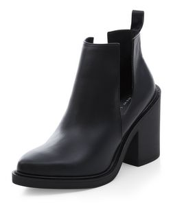 Black Cut Out Block Heel Ankle Boots  | New Look