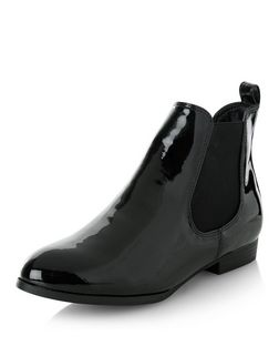 Black Patent Chelsea Boots  | New Look