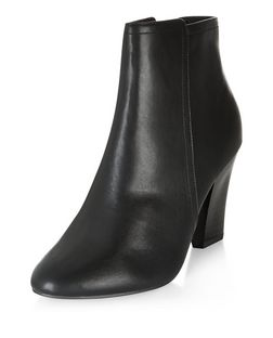 Black Comfort Pointed Block Heel Ankle Boots  | New Look