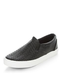 Teens Black Leather-Look Woven Slip Ons | New Look