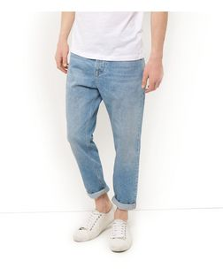 Blue Washed Slim Tapered Jeans | New Look