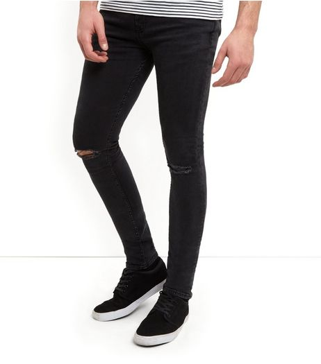 Black Ripped Knee Super Skinny Jeans  | New Look
