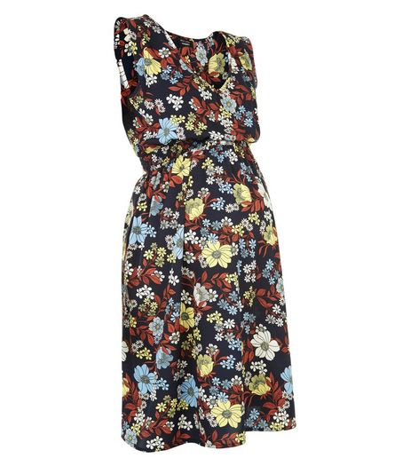 Maternity Blue Floral Print Wrap Front Dress | New Look