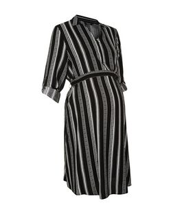 Maternity Black Stripe Shirt Dress | New Look