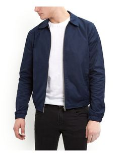 Navy Collared Harrington Jacket  | New Look