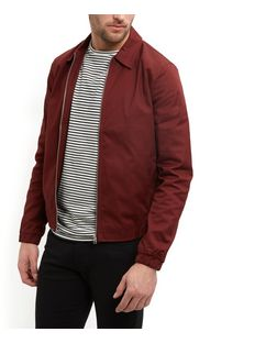 Burgundy Collared Harrington Jacket  | New Look
