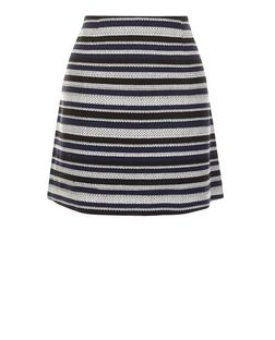 Blue Jacquard Stripe A-Line Skirt  | New Look
