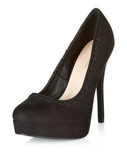 Black Suedette Stitch Trim Platform Heels  | New Look