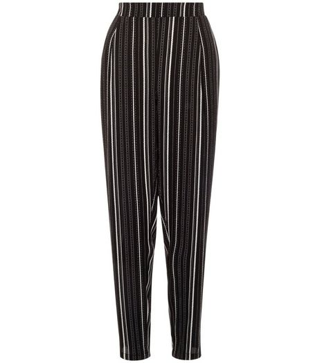 Monochrome Stripe Trousers  | New Look