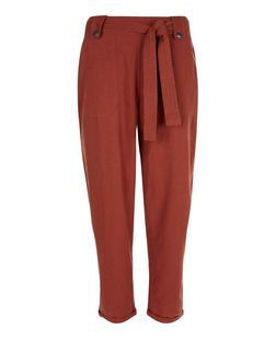 Dark Pink Belted Slim Leg Trousers  | New Look