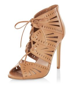 Tan Laser Cut Out Ghillie Heels | New Look