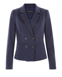 Navy Double Breasted Blazer  | New Look