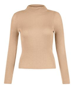 Petite Camel Ribbed Funnel Neck Jumper  | New Look