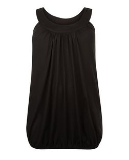 Curves Black Bubble Hem Vest | New Look