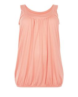 Plus Size Coral Bubble Hem Vest | New Look