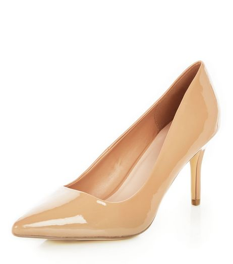 Camel Patent Pointed Mid Heels  | New Look