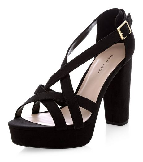 Black Suedette Strappy Platform Heels  | New Look