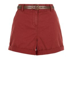 Rust Belted Chino Shorts  | New Look