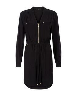 Tall Black Zip Front 3/4 Sleeve Shirt Dress  | New Look