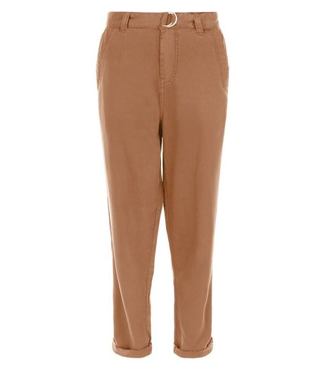 Tan D-Ring Belted Roll Up Trousers | New Look