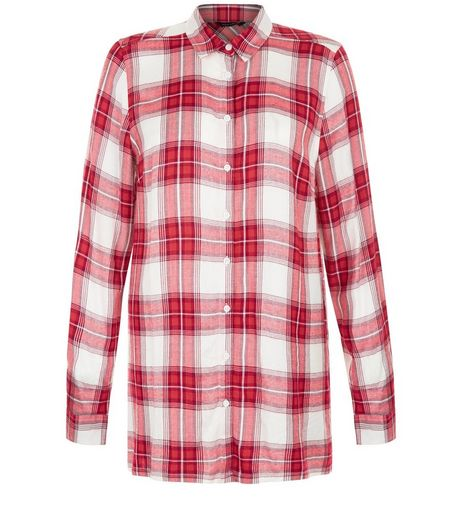 White Check Split Side Longline Shirt  | New Look