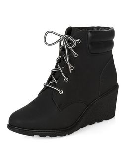 Black Lace Up Wedge Ankle Boots  | New Look