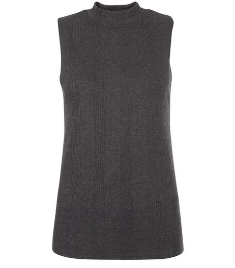 Dark Grey Ribbed Funnel Neck Sleeveless Top | New Look