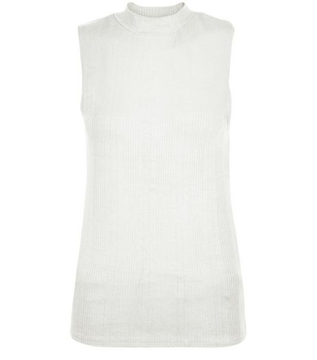 Cream Ribbed Funnel Neck Sleeveless Top  | New Look