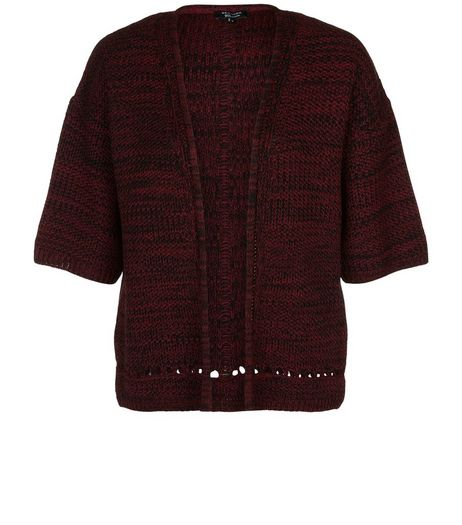 Teens Burgundy Marl Knitted Kimono  | New Look