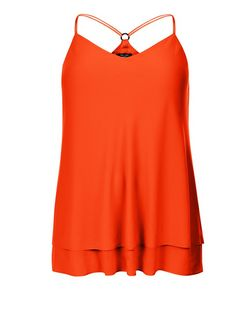 Curves Orange Ring Back Layered Cami  | New Look