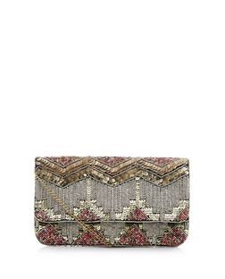 Multicoloured Sequin Beaded Clutch  | New Look