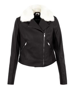 Black Faux Fur Trim Leather-Look Jacket | New Look