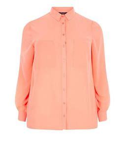 Plus Size Coral Long Sleeve Shirt | New Look