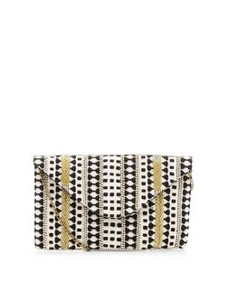 Black Woven Beaded Envelope Clutch  | New Look